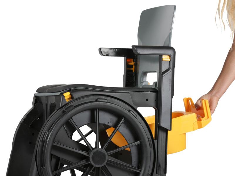 Met optionele toelemmer is de WheelAble ook te gebruiken als mobiele postoel