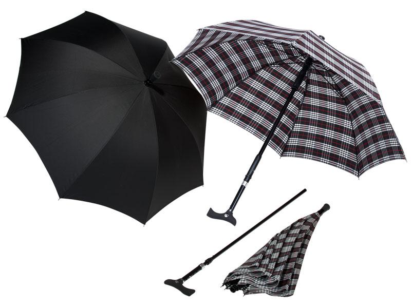 Handige Twin Paraplustok: wandelstok en paraplu in één!